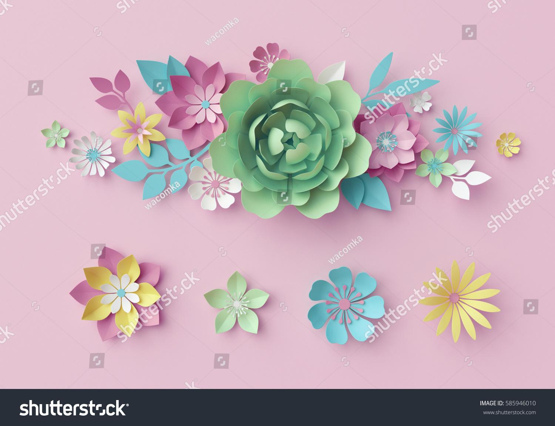 3 D Render Digital Illustration Pastel Paper Stock Illustration