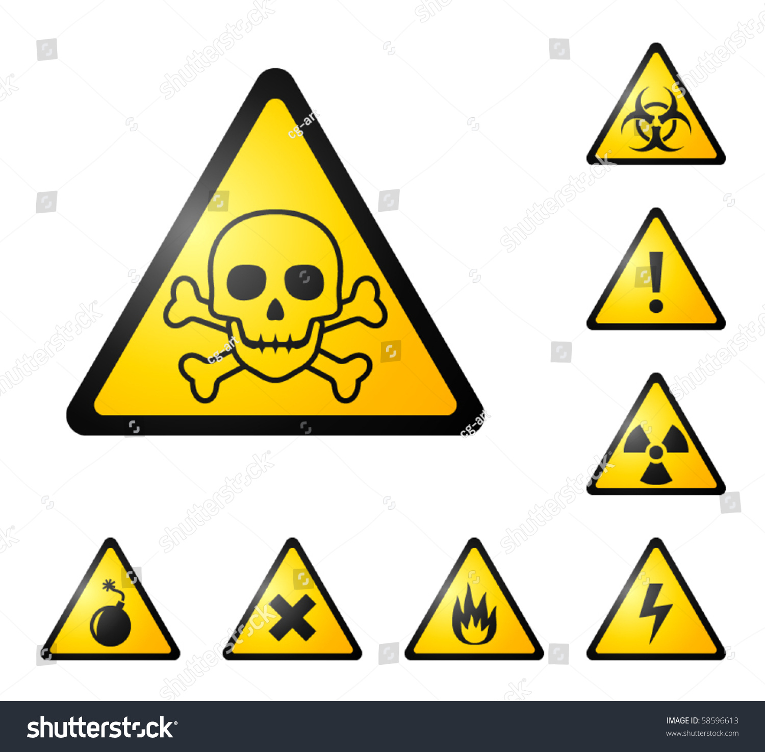 Warning signs symbols danger poison skull stock vector 58596613 warning signs symbols danger poison skull crossbones bio hazard biocorpaavc Image collections