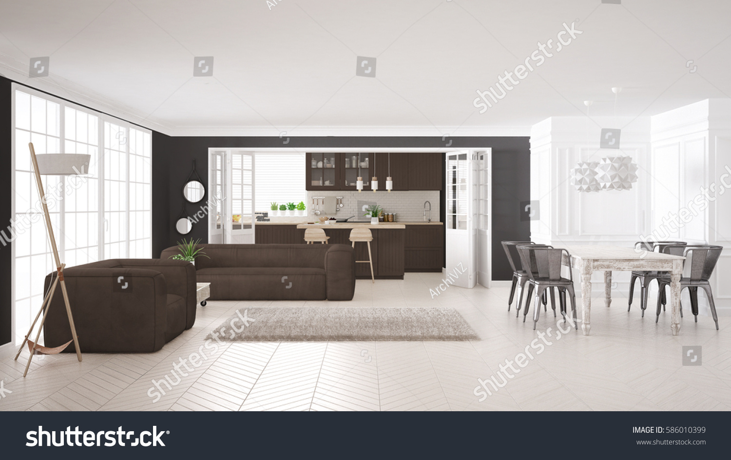 Minimalist white brown living kitchen scandinavian stock for Minimalist house 3d