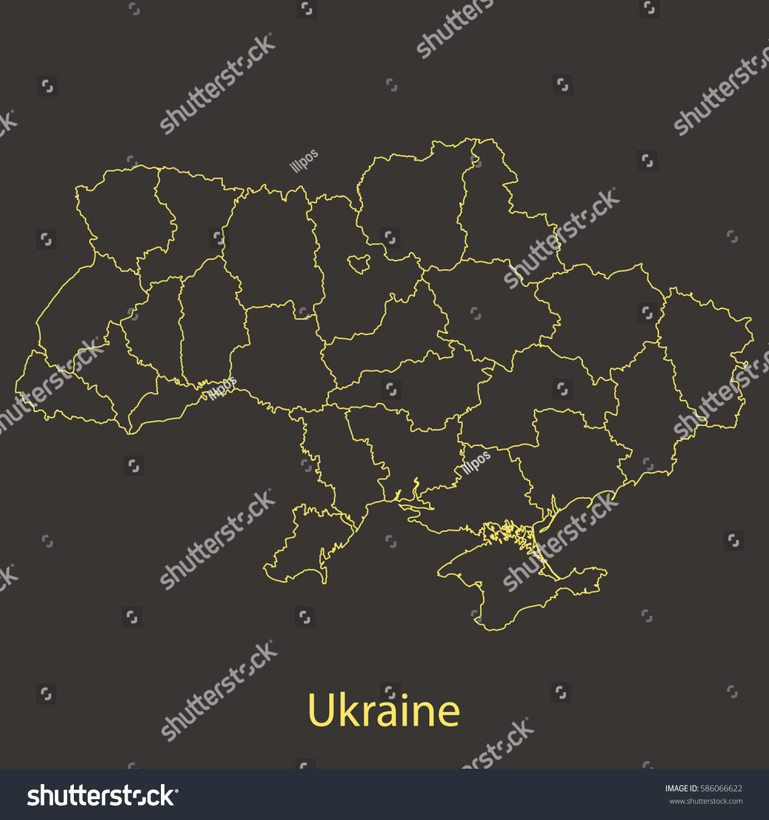 Ukraine Outlinestroke Map Administrative Division Vector Stock