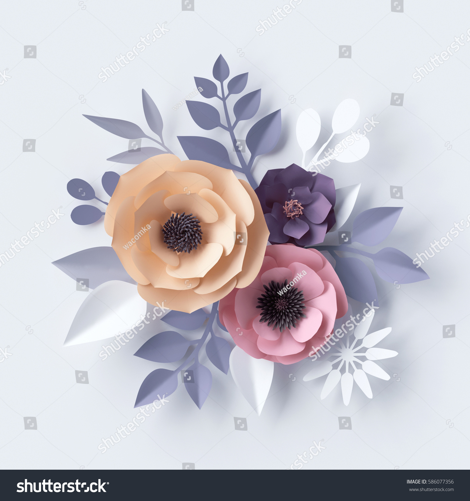 3 D Illustration Pastel Paper Flowers Holiday Stock Illustration