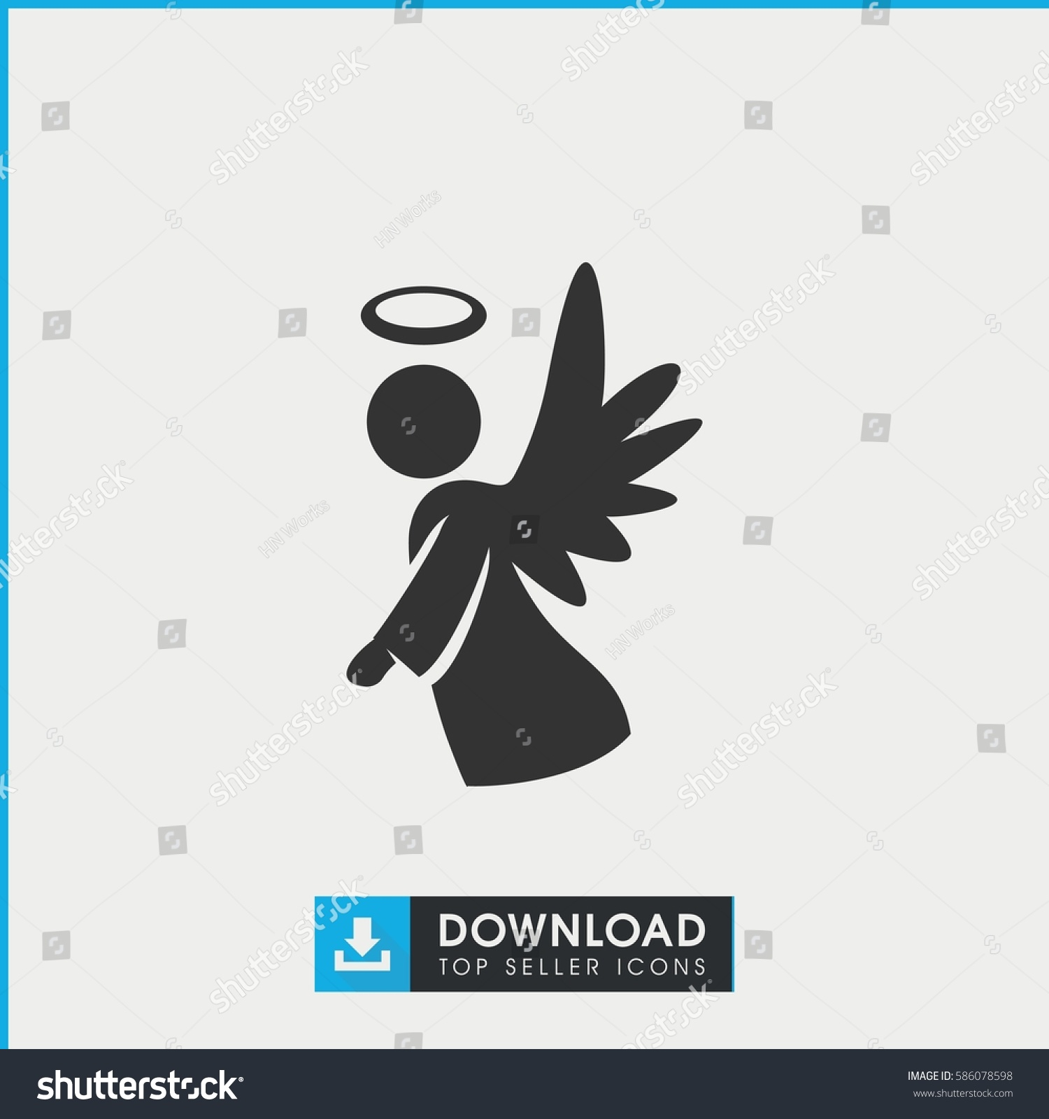 angel icon simple filled angel icon stock vector 586078598