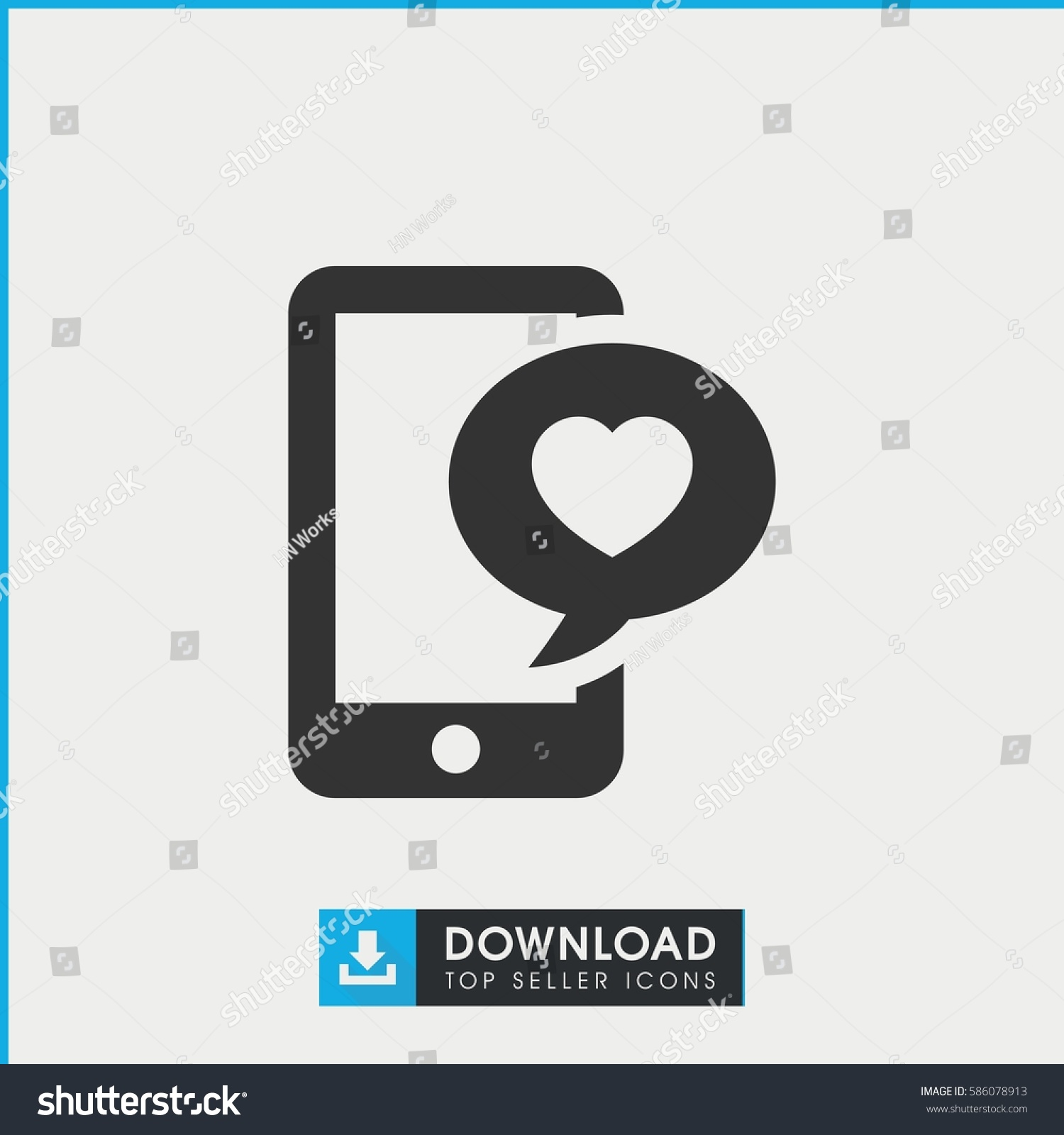 Phone Heart Icon Simple Filled Phone Stock Vector Royalty Free