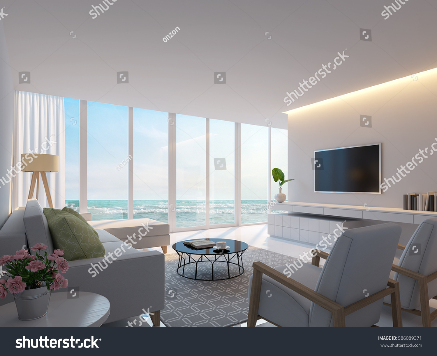 Modern white living room sea view stock illustration for Modern living room with view