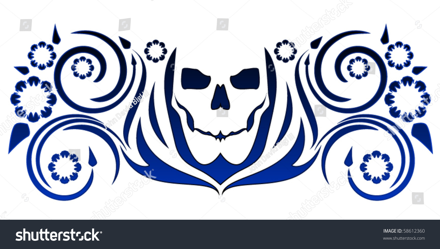 Simple skull tattoo designs - Simple Stylized Skull Tattoo With Swirly Floral Designs