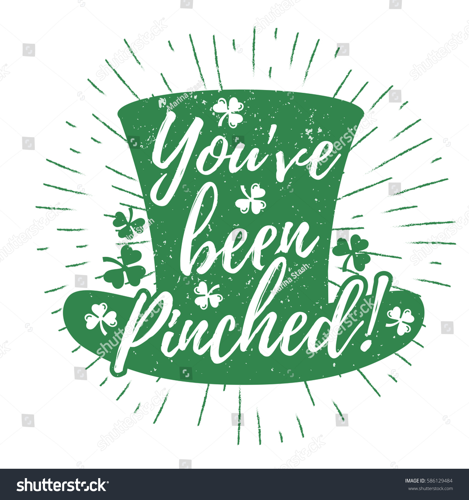f2156af01c9 St. Patrick s Day quote typography lettering greeting card template on a  grunge texture green leprechaun s hat with lucky shamrock clover for print