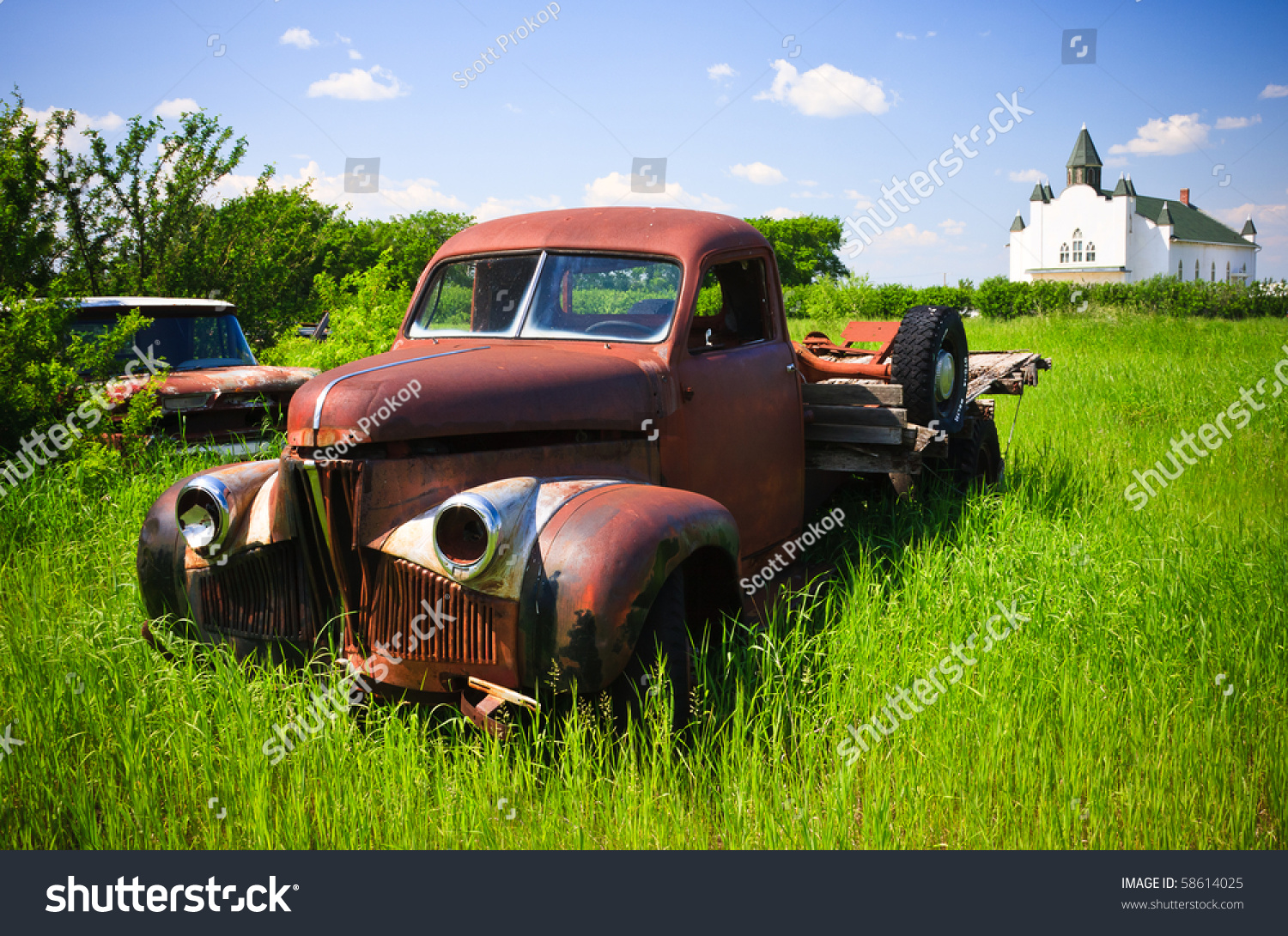 Old Rusty Red Farm Truck Fading Stock Photo (Edit Now)- Shutterstock