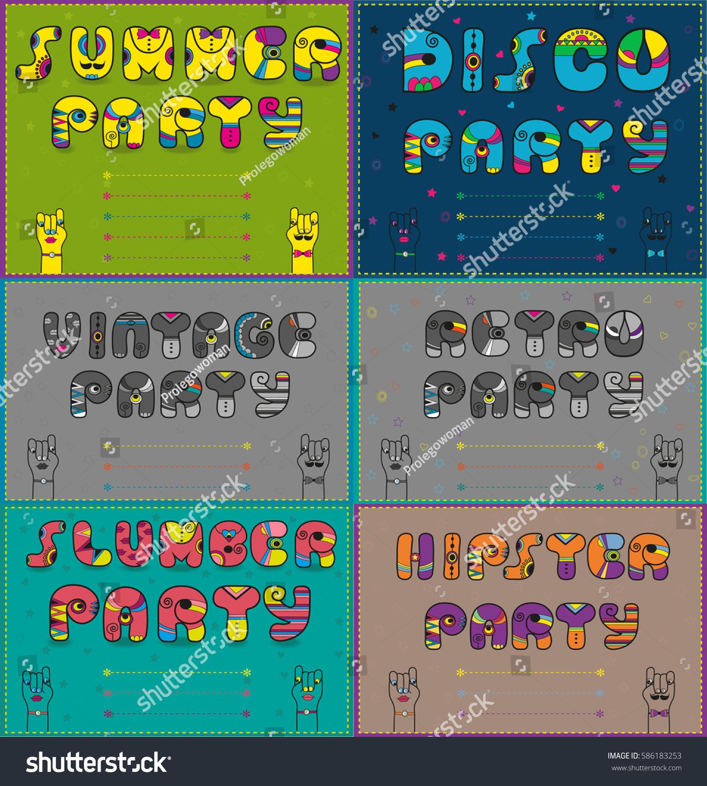 Invitations Parties Artistic Font Summer Disco Stock Illustration ...