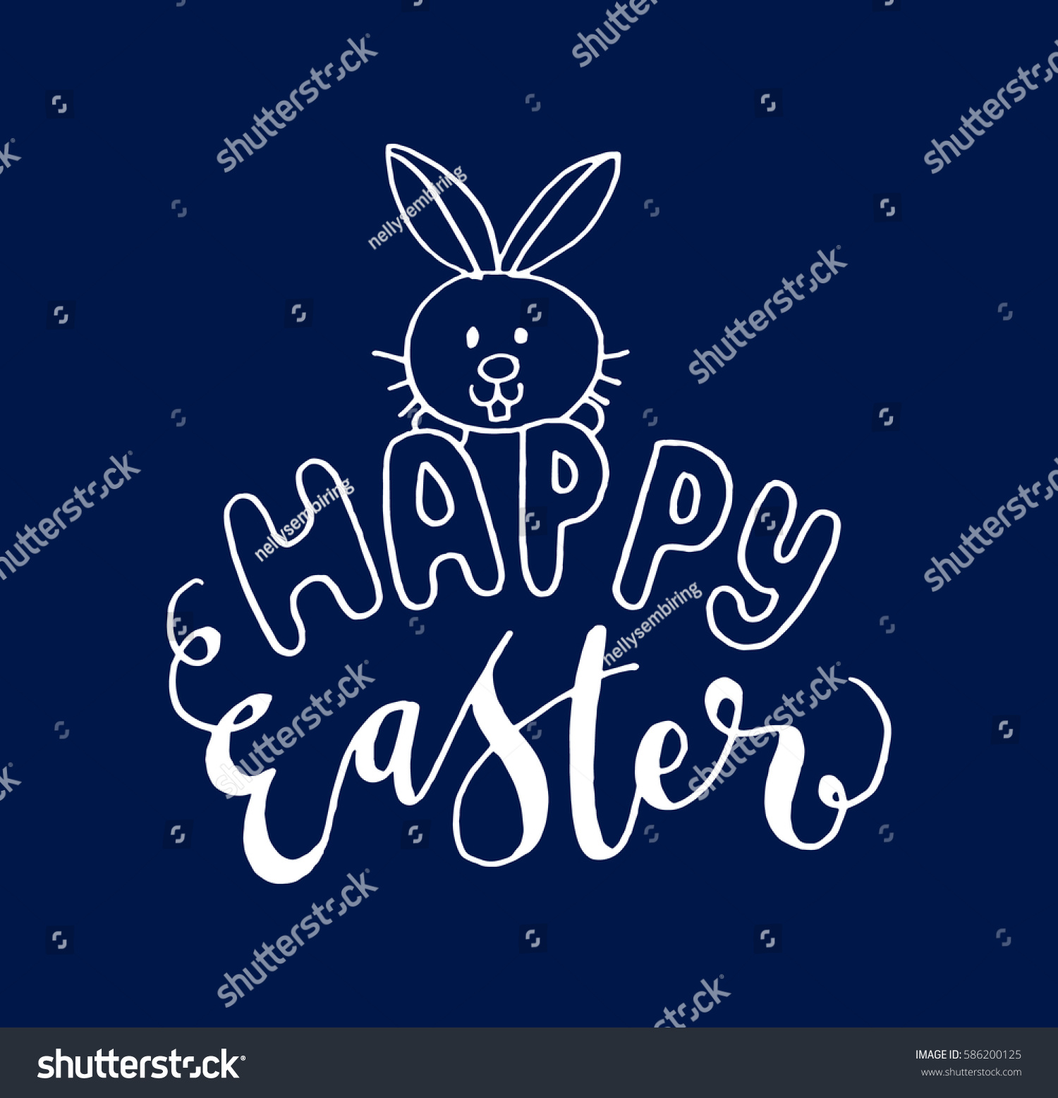 Happy easter bunny hand lettered quote stock vector