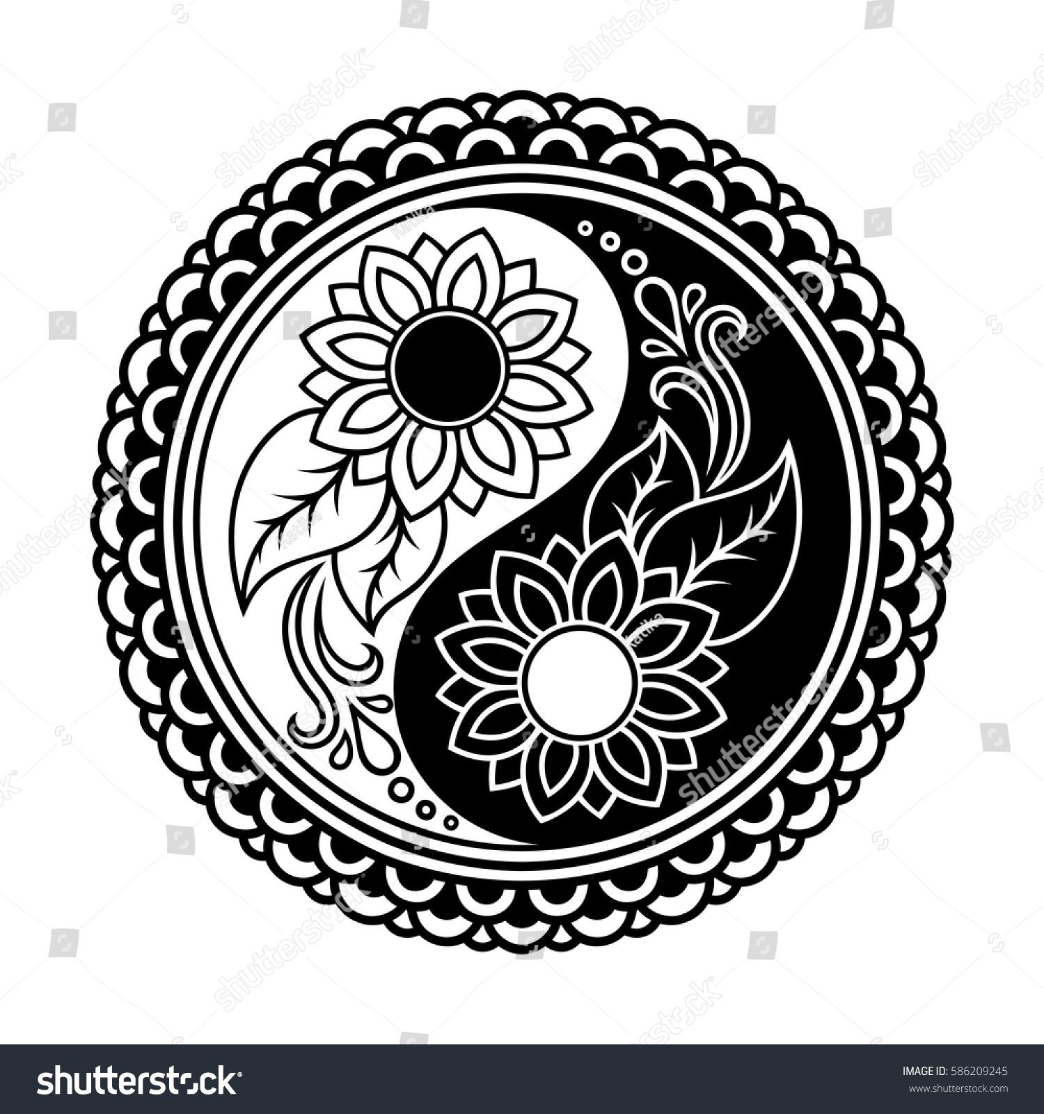 Coloring pages yin yang - Yin Yang Decorative Symbol Mehndi Style Mehndi Style