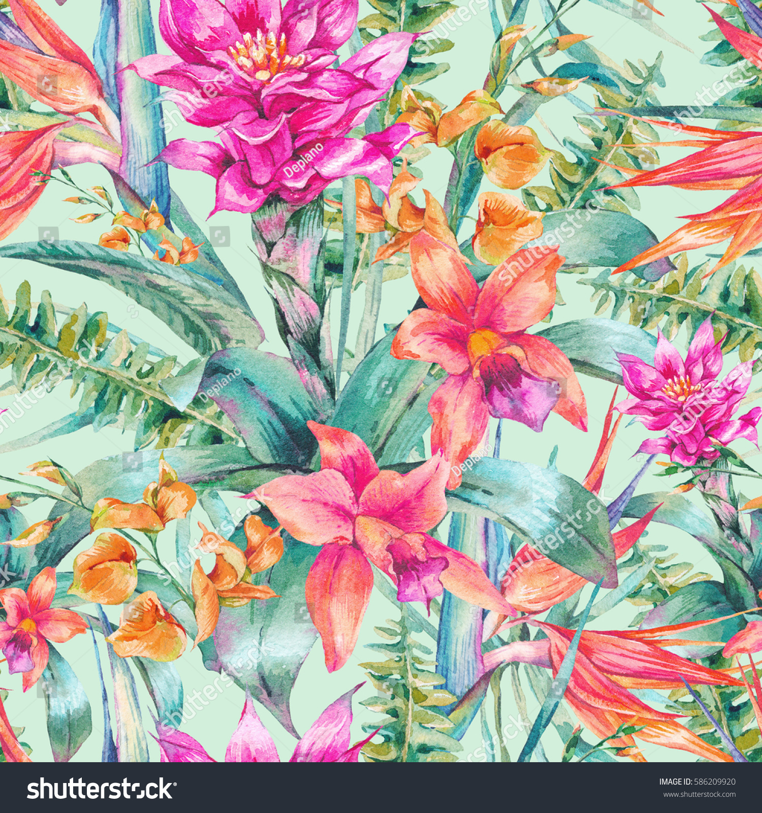 Vintage Style Tropical Bird And Flowers Background: Watercolor Vintage Floral Tropical Seamless Pattern Stock