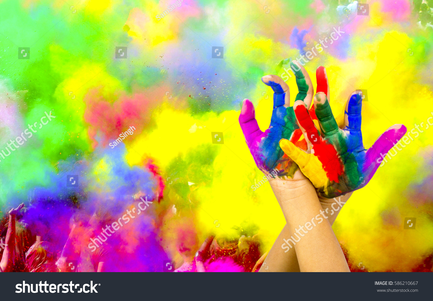 painted hands on colorful background の写真素材 今すぐ編集