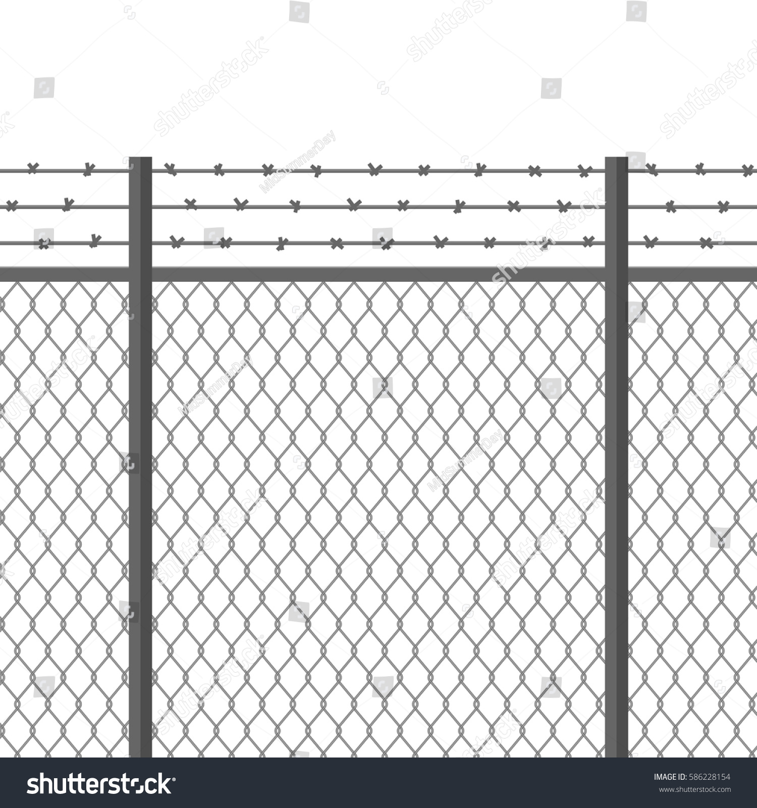 metal fence barbed wire fortification secured stock vector