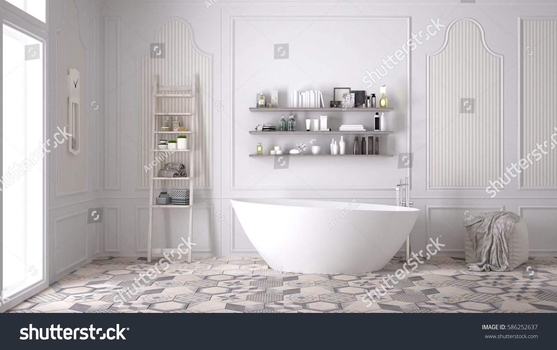 Scandinavian Bathroom Classic White Vintage Interior Stock Illustration 586252637 Shutterstock