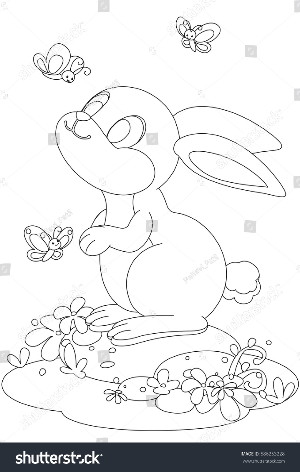 cute rabbit butterfly cartoon outline drawing stock vector