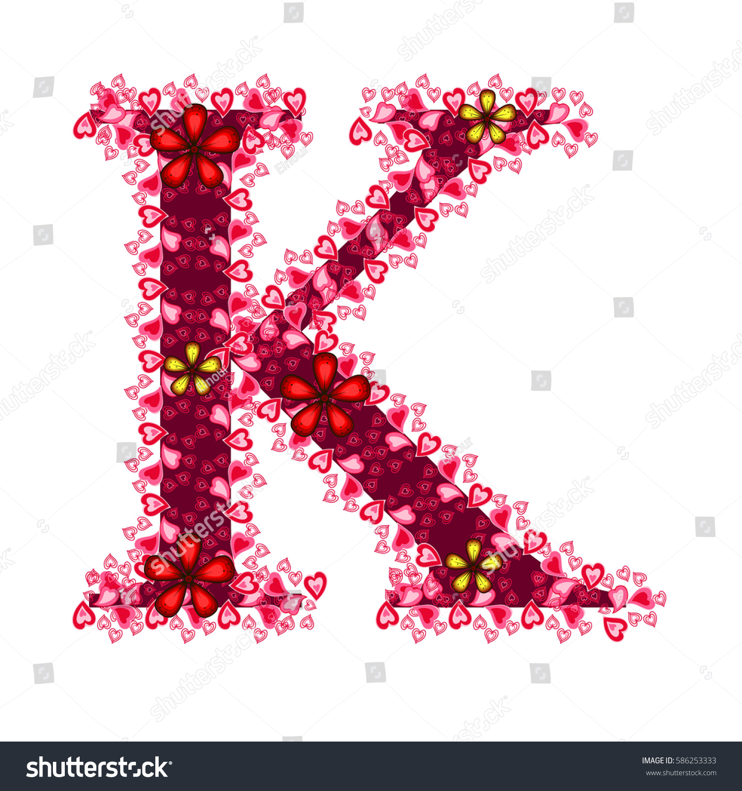Alphabet Hearts K Red Letter Hearts Stock Vector (Royalty Free ...