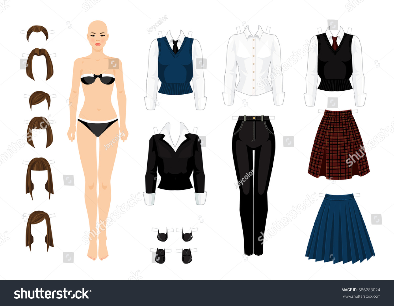 paper doll clothes school college office stock vector royalty free