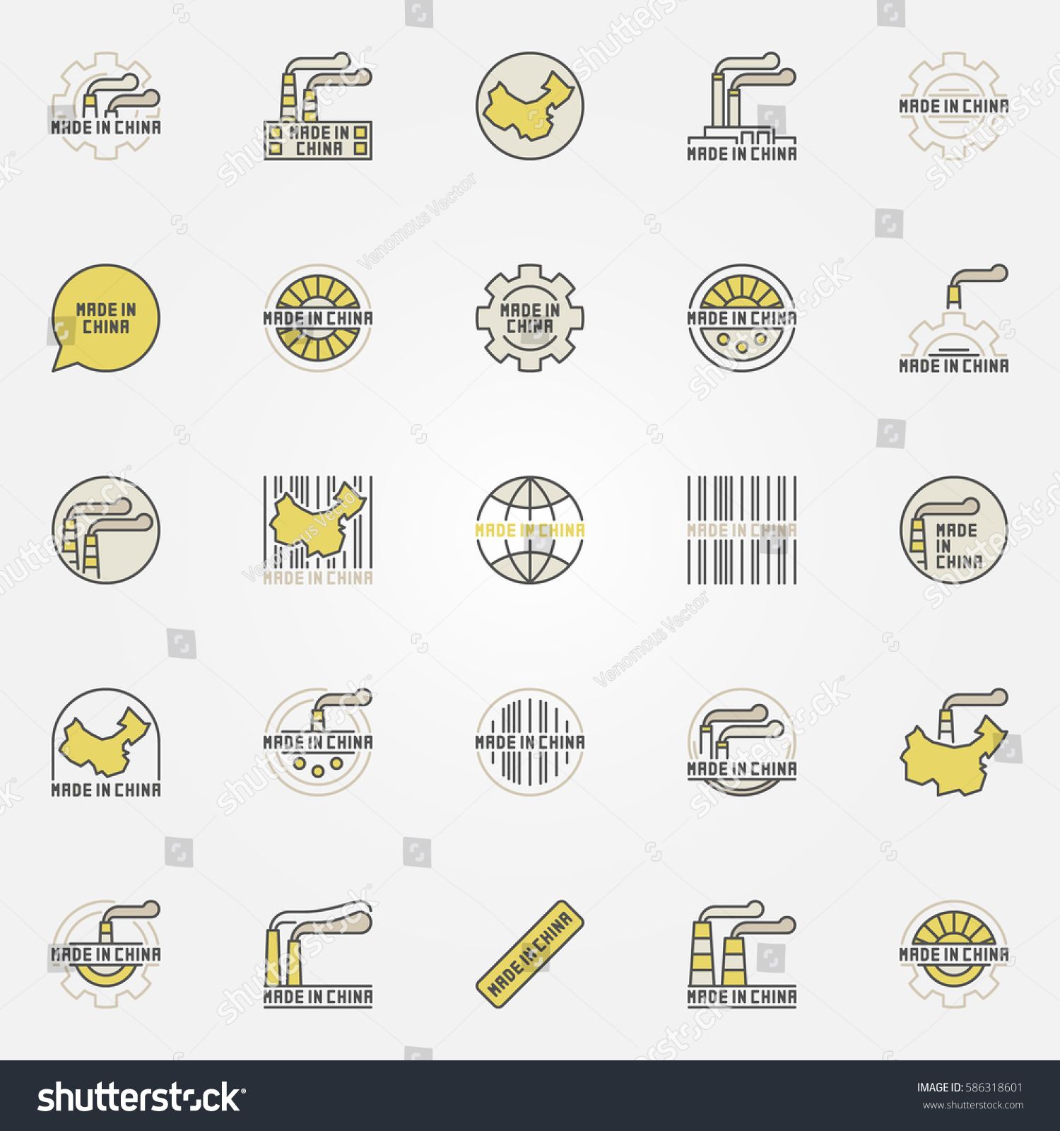 Made China Colorful Icons Vector Collection Stock Vector 586318601