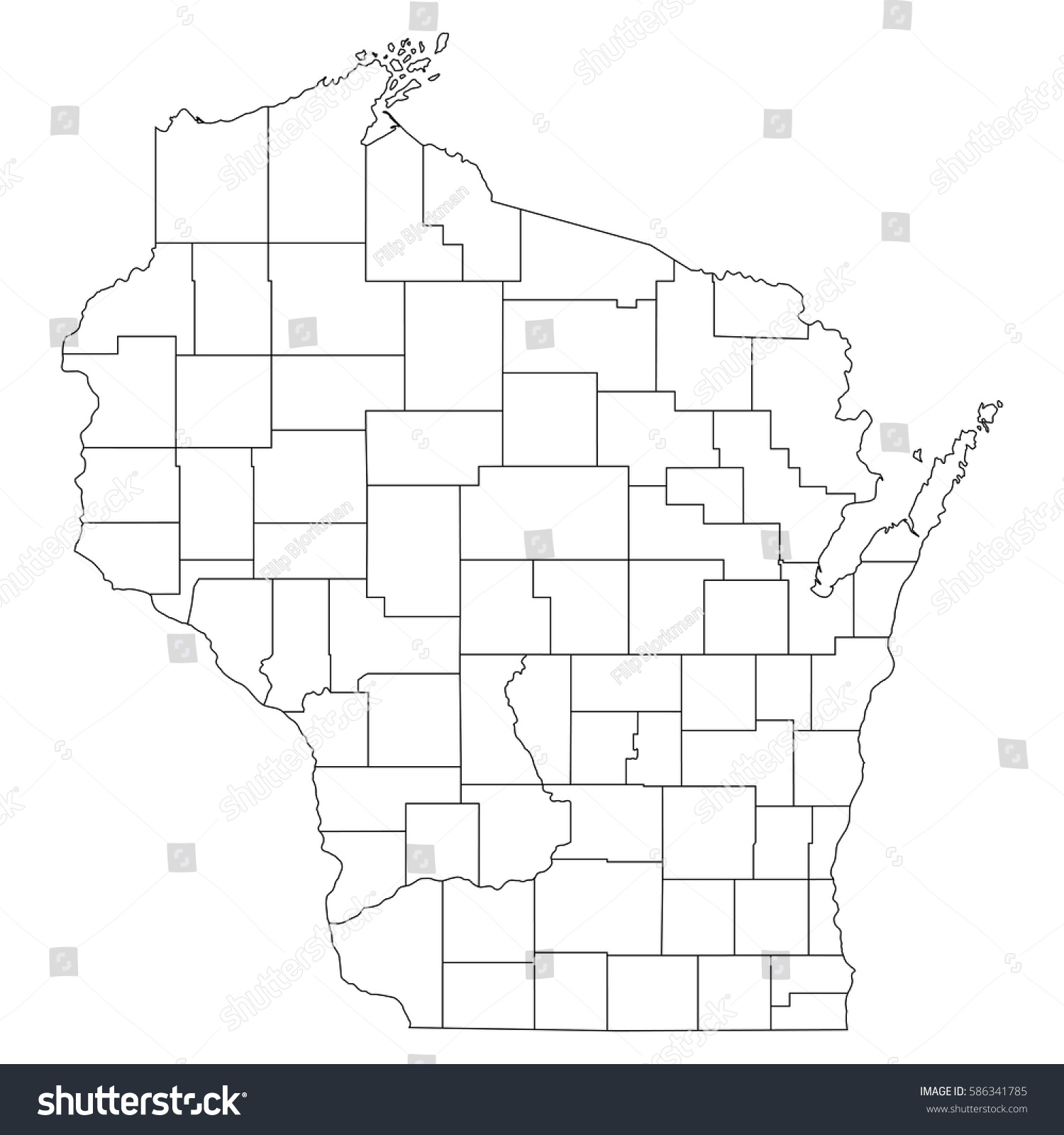 High Detailed Vector Map Countiesregionsstates Wisconsin Stock