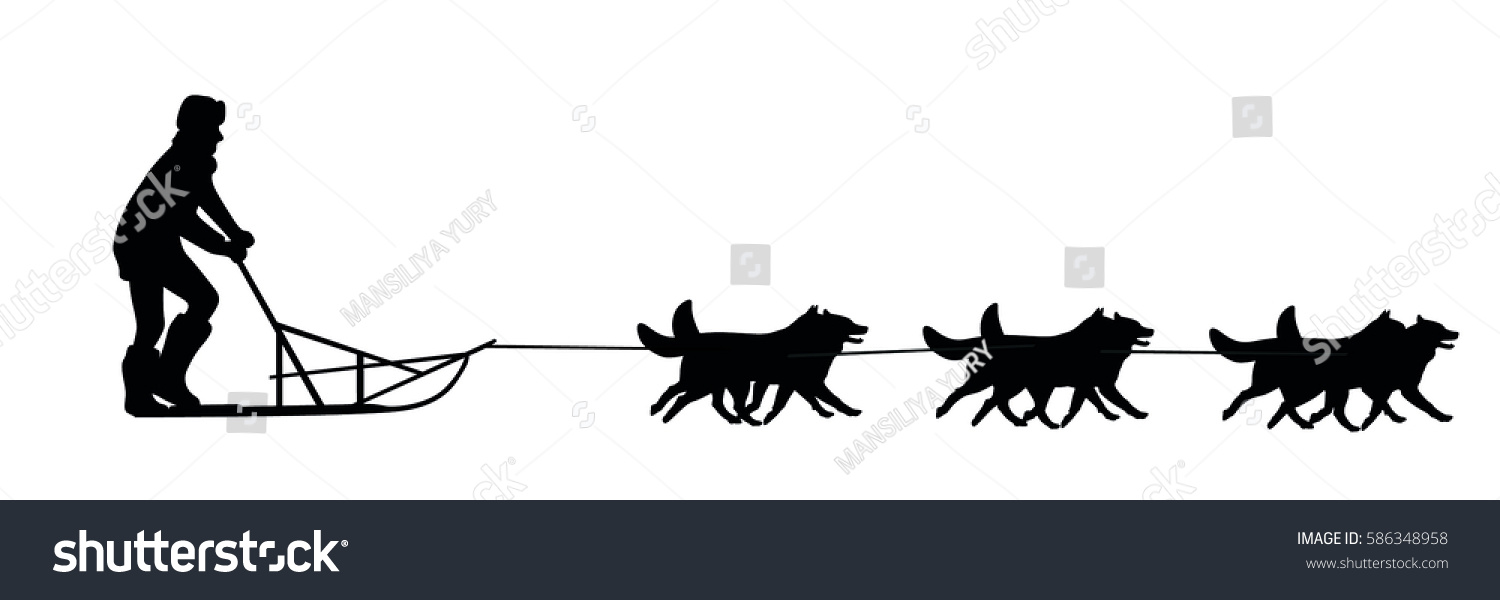 dog sled stock vector 586348958 shutterstock rh shutterstock com dog sled clipart dog sled clipart