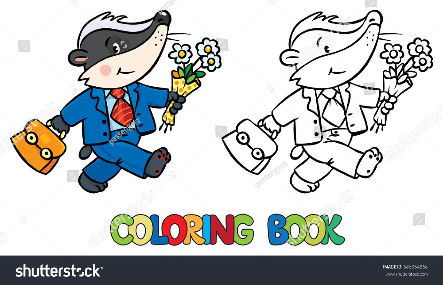 coloring book funny little baby badger stock vector 586354868