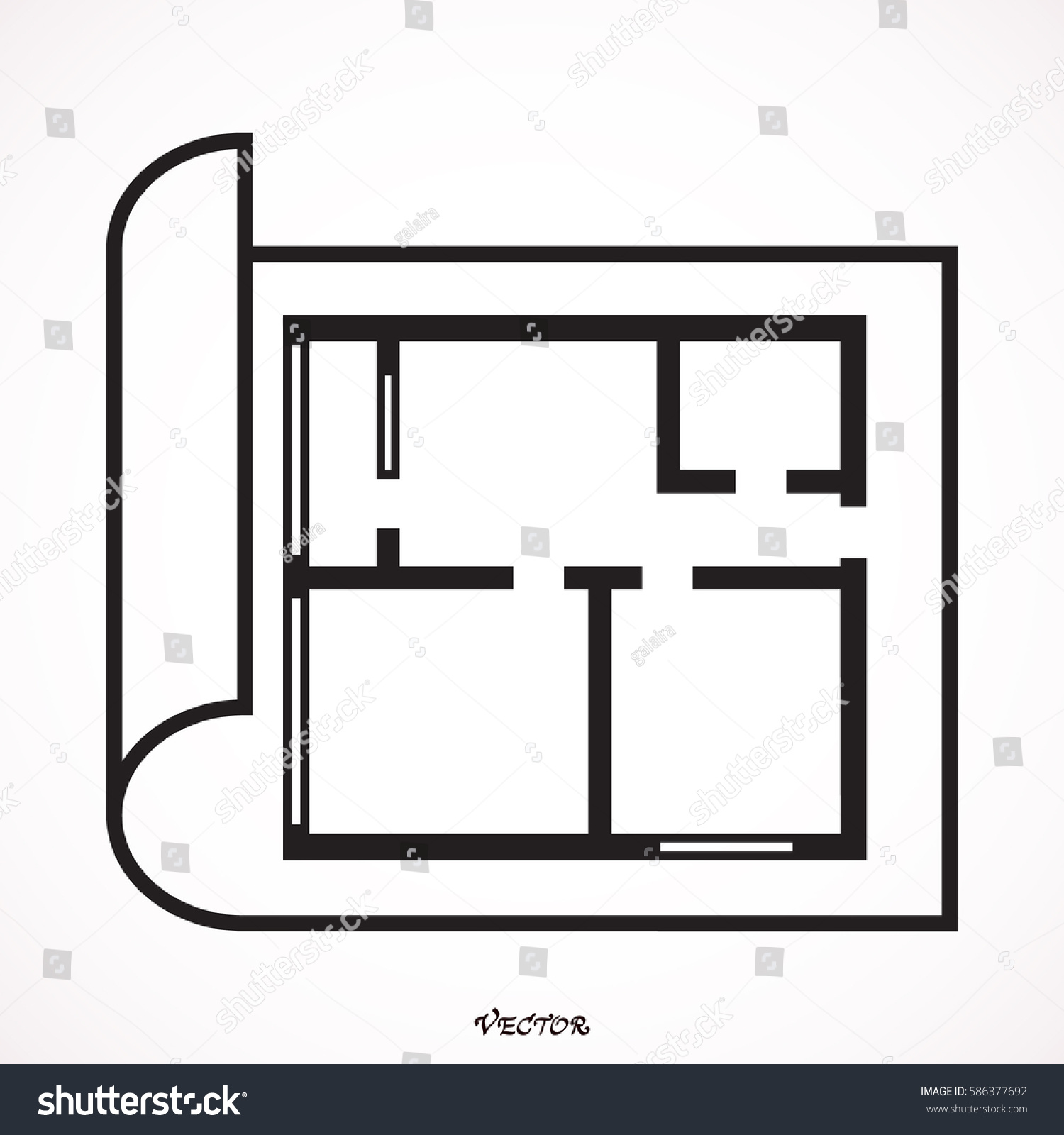 House Plan Icon Floor Plan Vector Stock Vector