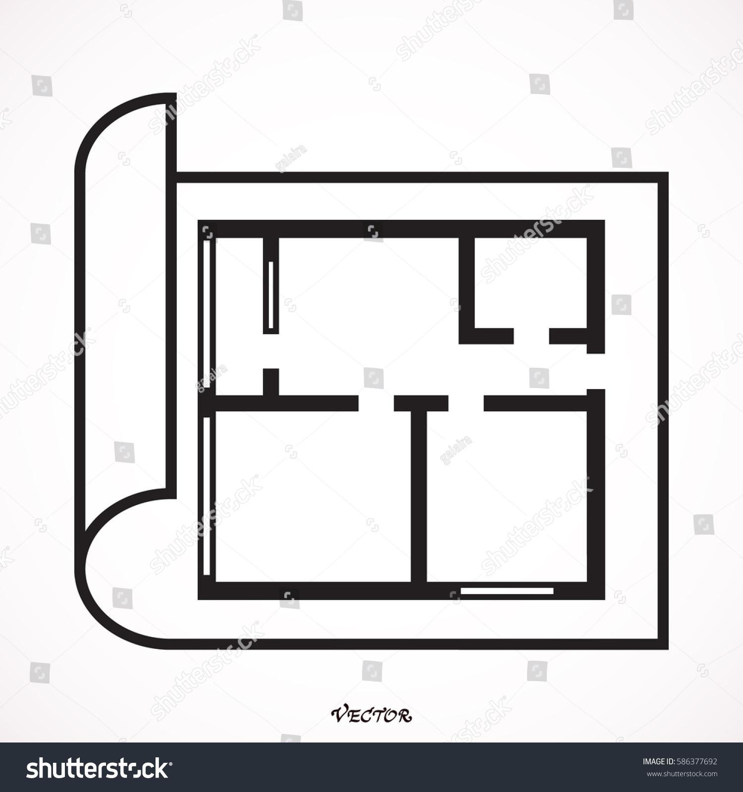 House Plan Icon Floor Plan Vector Stock Vector