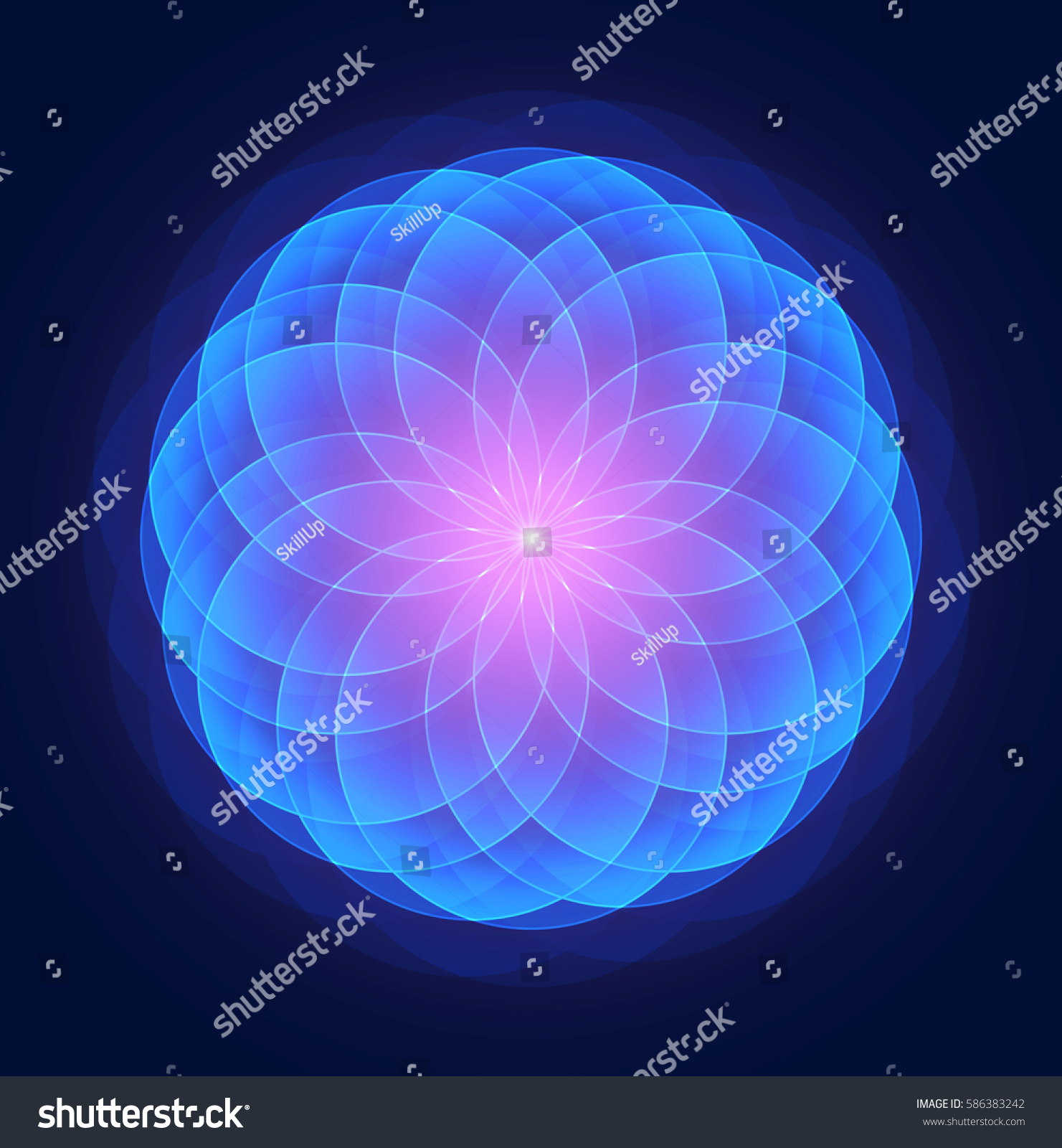Sacred Geometry Abstract Lotus Flower Esoteric Stock Vector Royalty