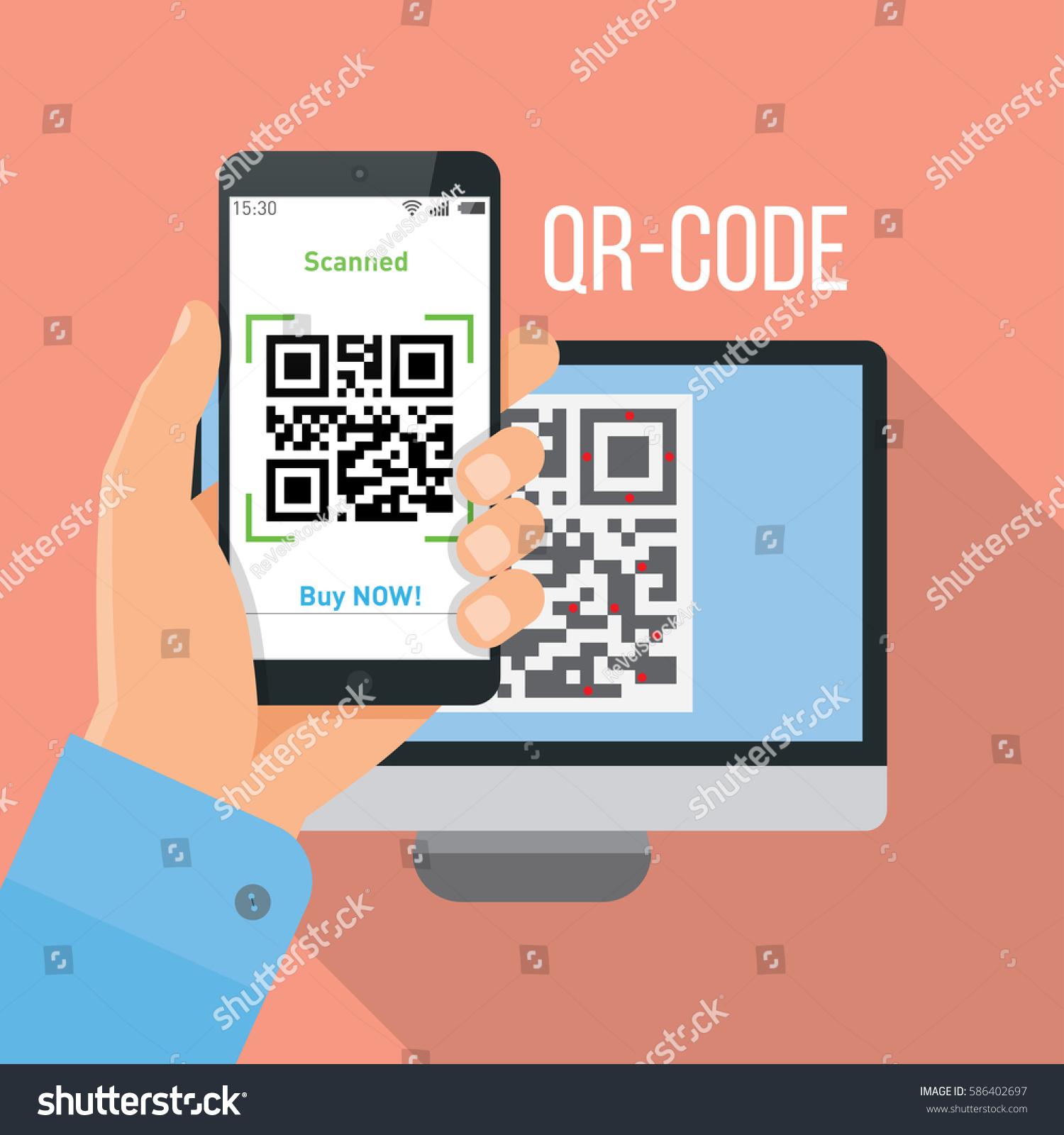 mobile app scanning qrcode stock vector 586402697 shutterstock. Black Bedroom Furniture Sets. Home Design Ideas