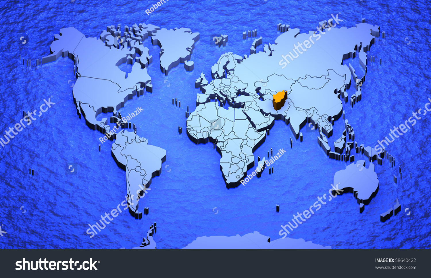 3d graphic depicting world map highlighting stock illustration 3d graphic depicting a world map highlighting afghanistan gumiabroncs Images