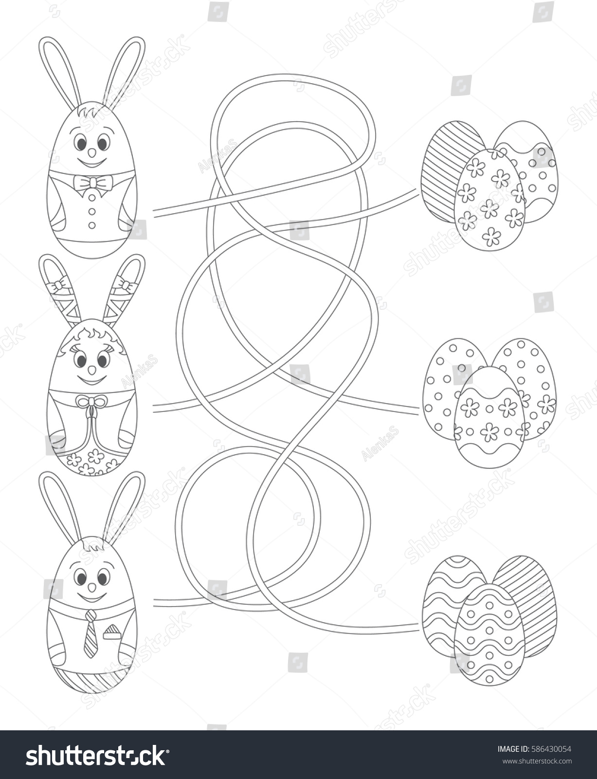 Coloring Page Easter Maze Game Kids Stock Vector 586430054