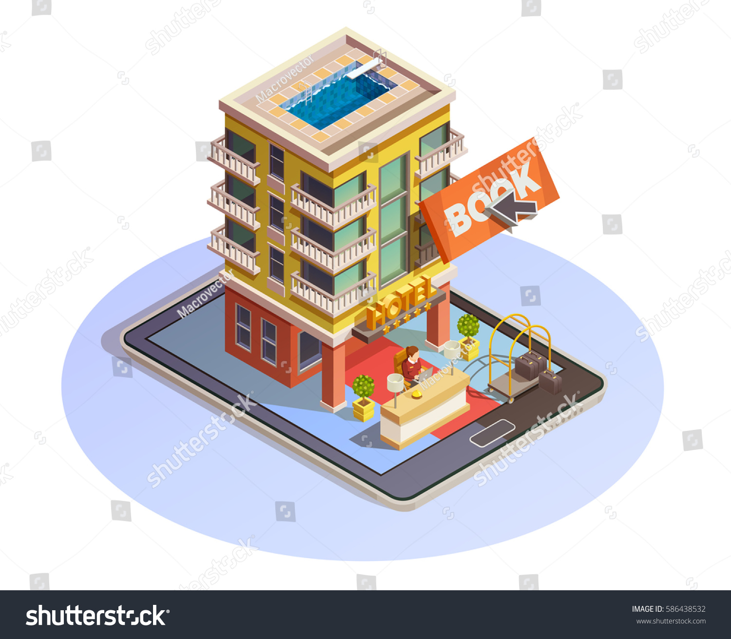 Online hotel booking isometric icon building stock vector for Tablet hotel booking