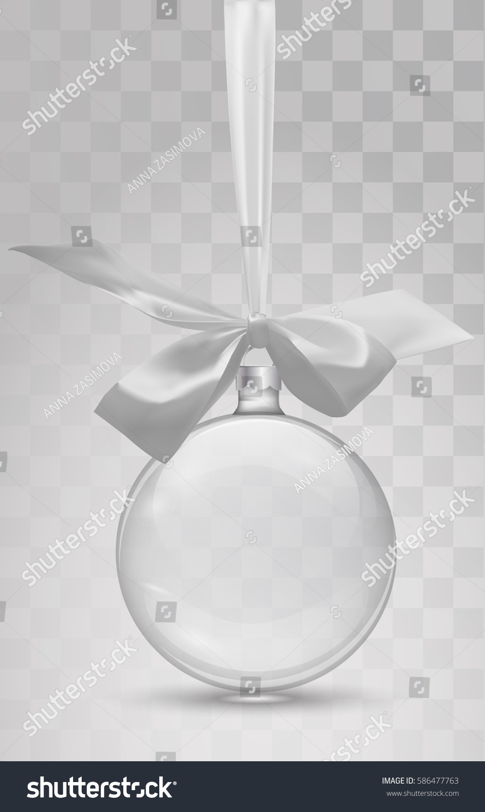 Glass Christmas Toy With Ribbon On A Transparent Background Stocking Decorations Vector