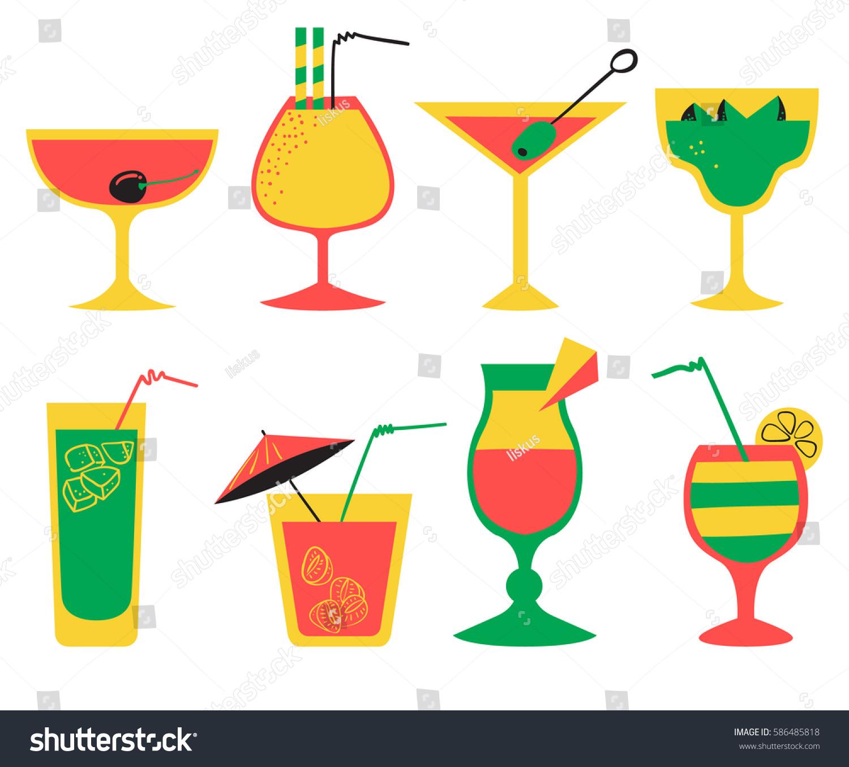 vector set alcohol cocktails flat cartoon stock vector royalty free