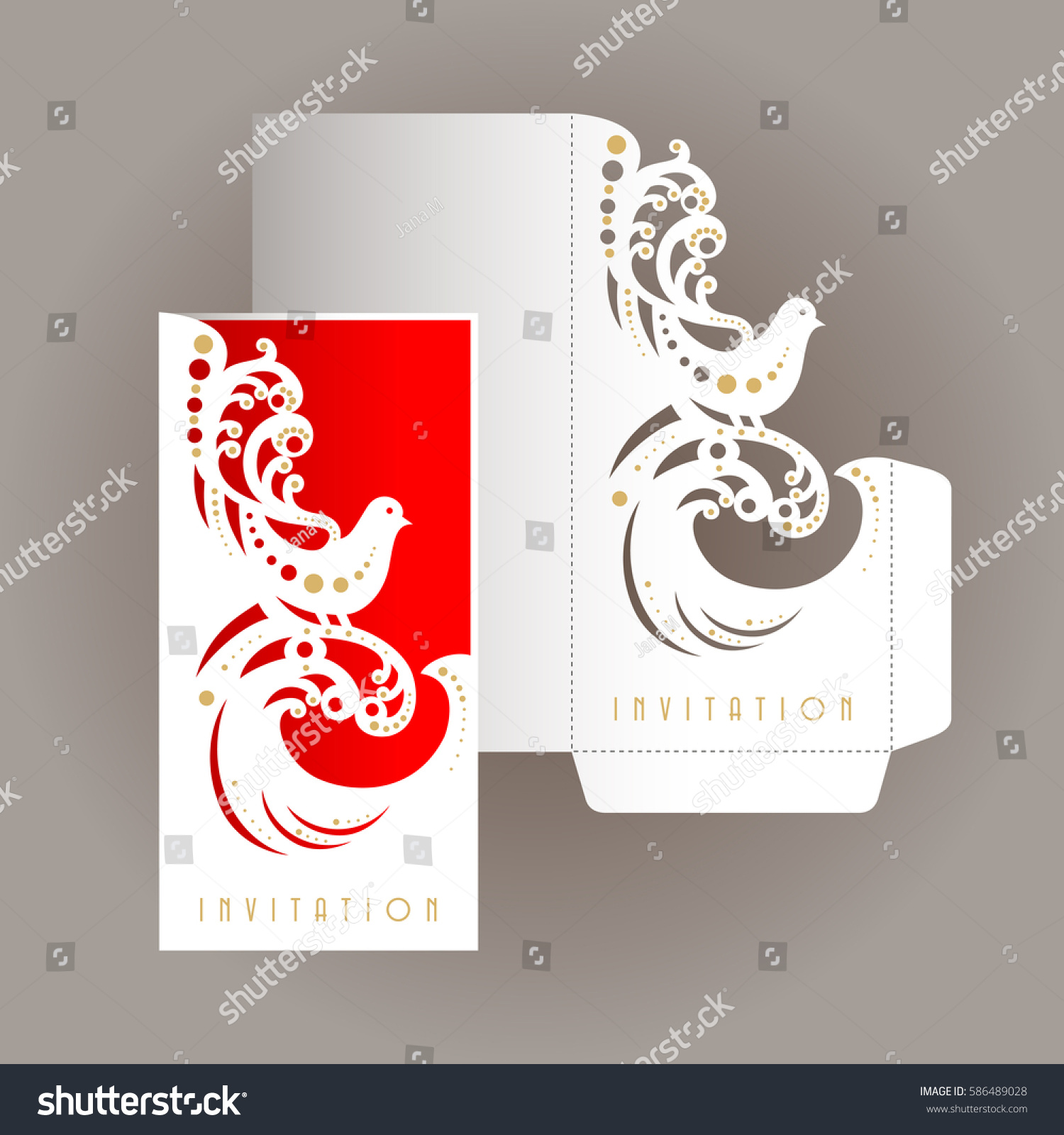 Laser Cut Template Cover Wedding Design Stock Vector (Royalty Free ...
