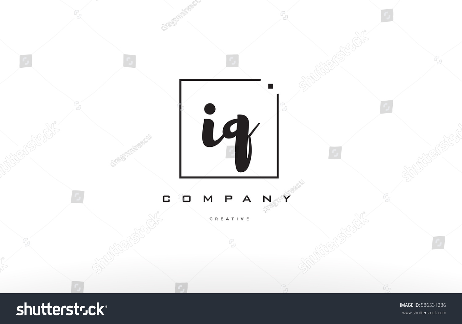 iq i q hand writing written black white alphabet company letter logo square  background small lowercase design