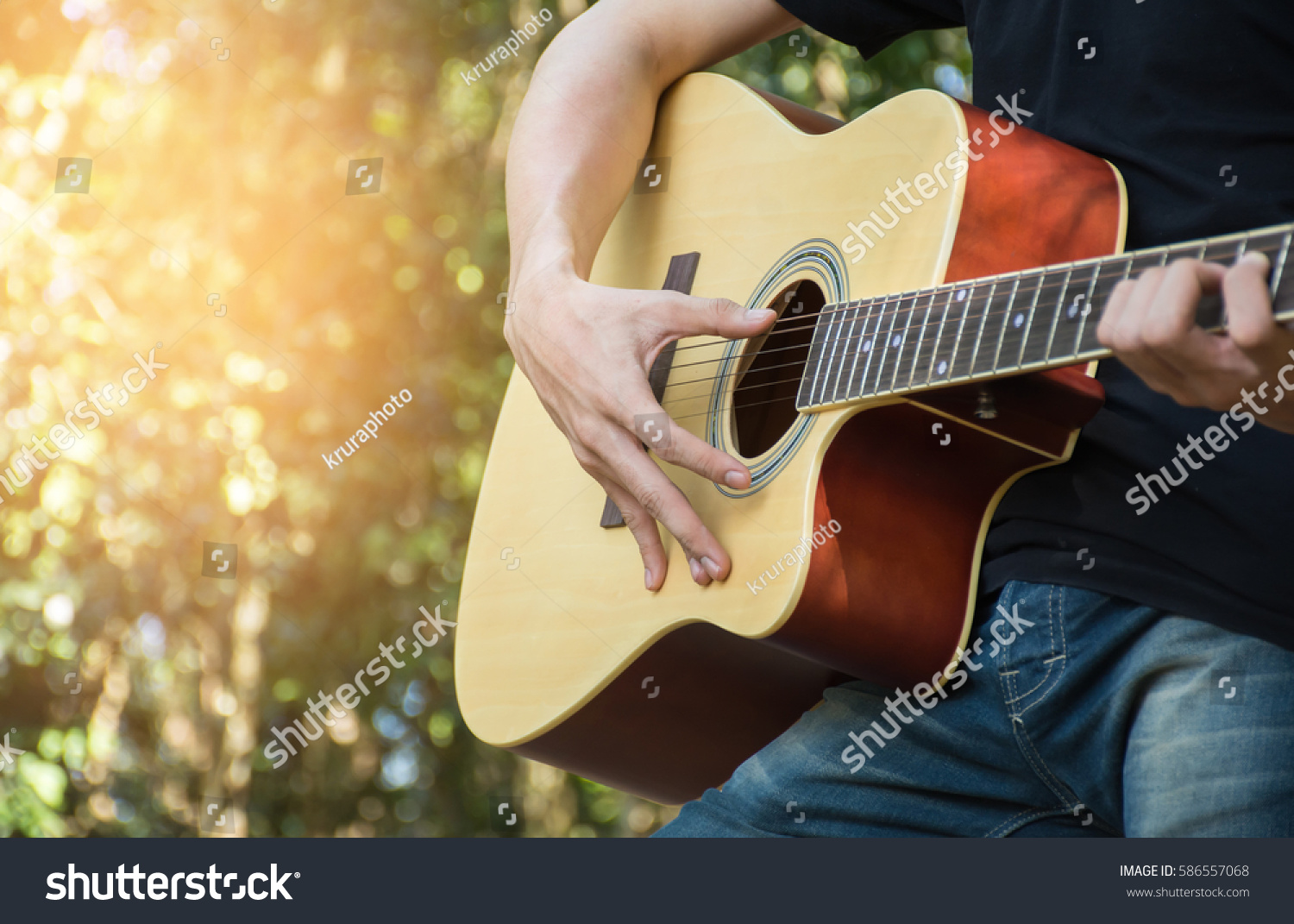 Men Were Caught Playing Guitar Chords Stock Photo Edit Now