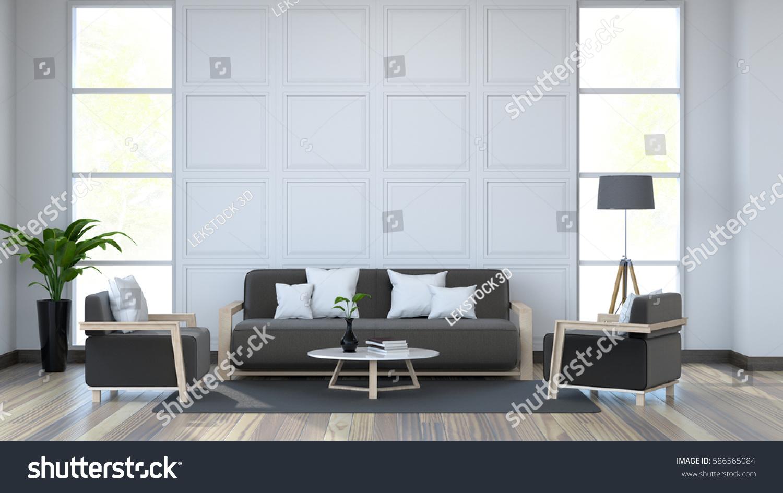 White Room Interior And Black Furniture On Dark Wood Floor Wall 3d Render