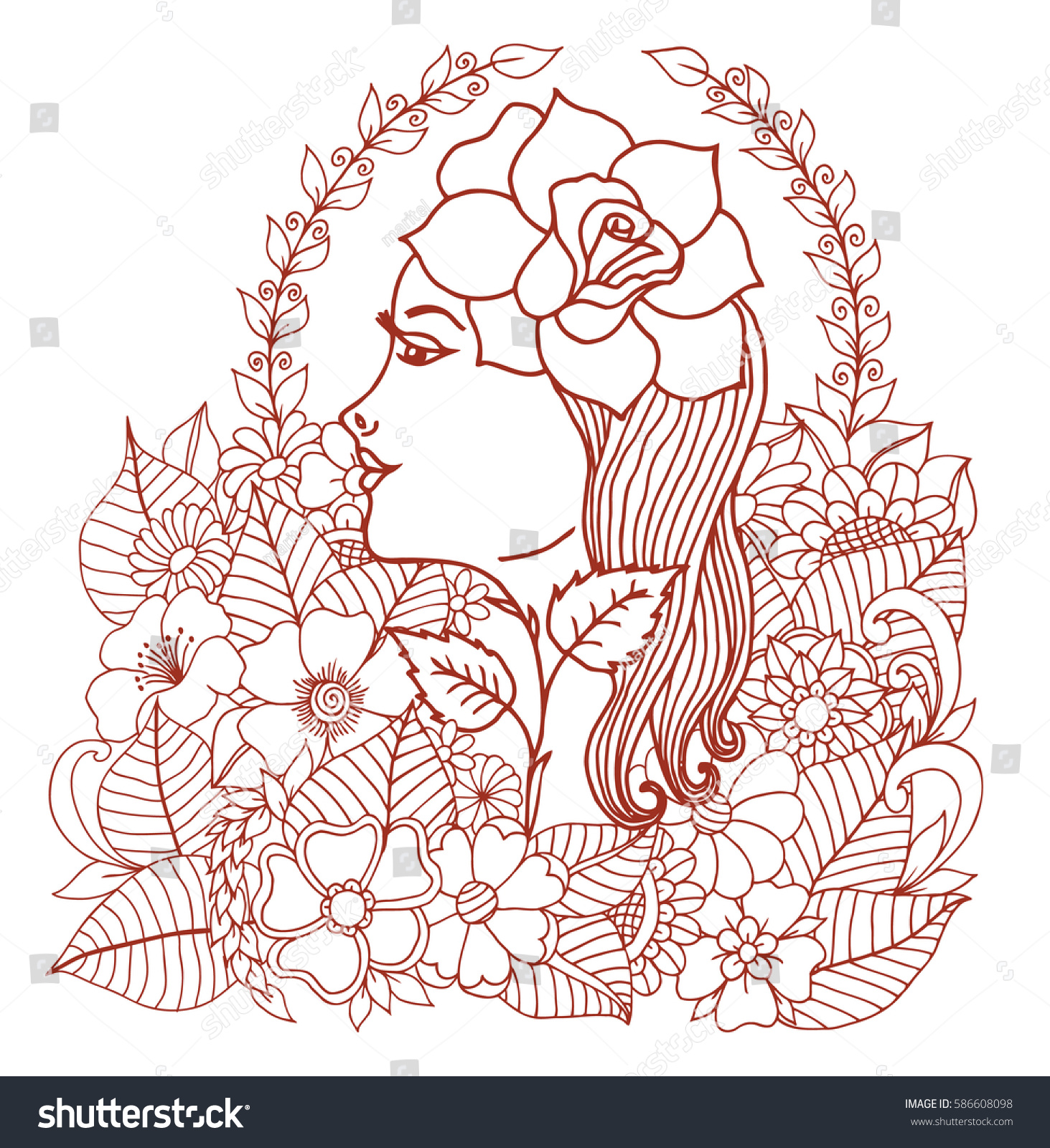 Do anti stress colouring books work - Vector Illustration Girl With A Rose Surrounded By Flowers Work Done By Hand Book