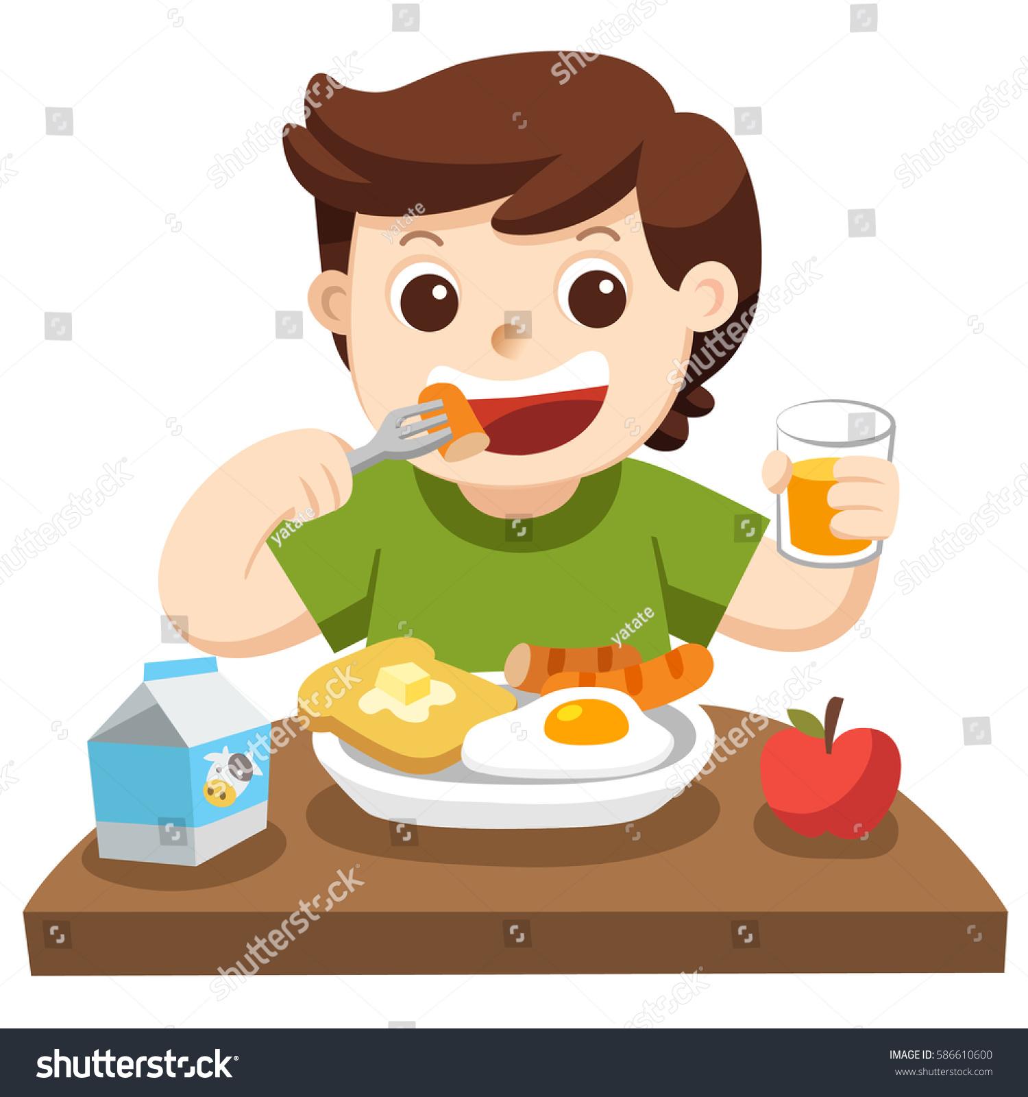 little boy happy eat breakfast morning stock vector (royalty free