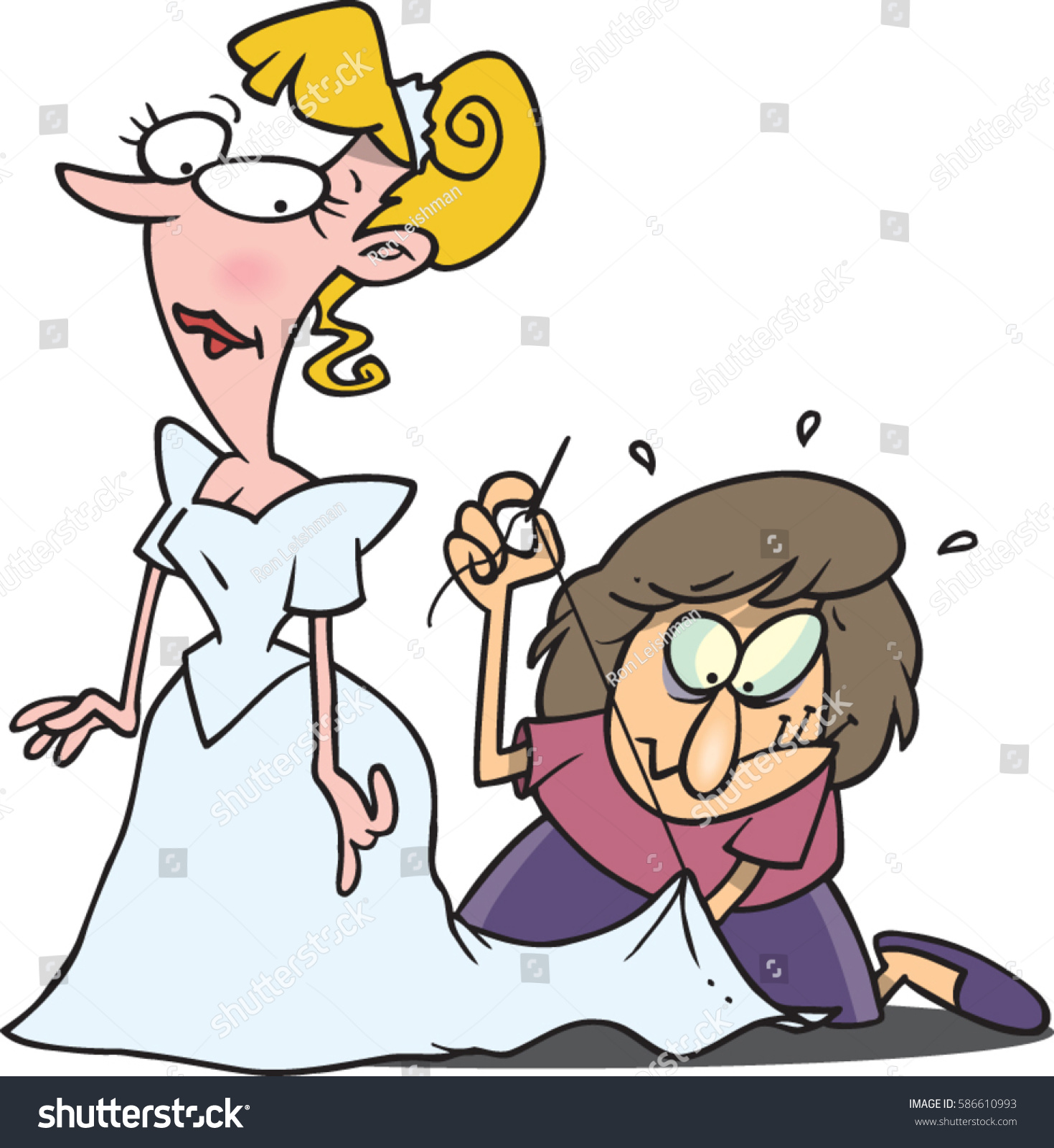 Cartoon Woman Sewing A Wedding Dress Last Minute