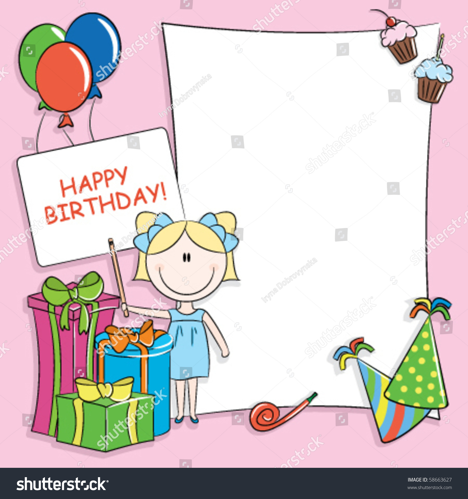 Happy Birthday Greeting Card Blank Place Stock Vector