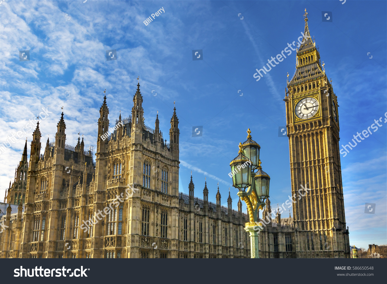 Big Ben Tower Houses Parliament Lamp Stock Photo 586650548
