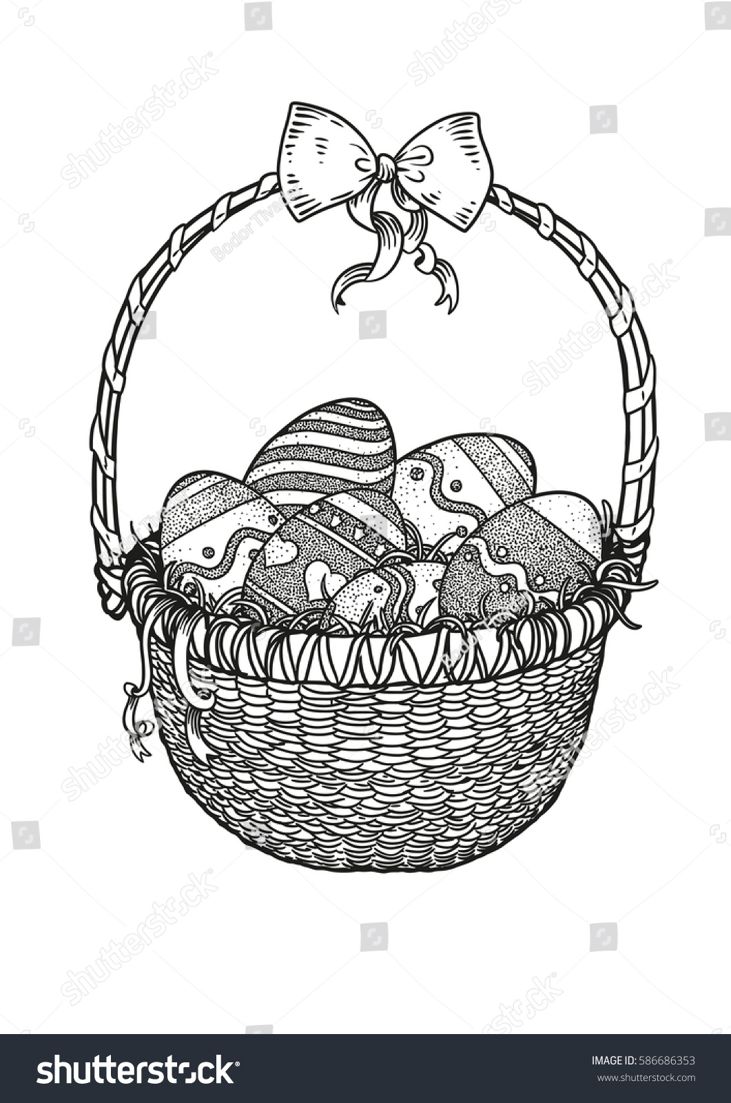Easter Eggs In A Basket With Ribbon Illustration Drawing Engraving Vector