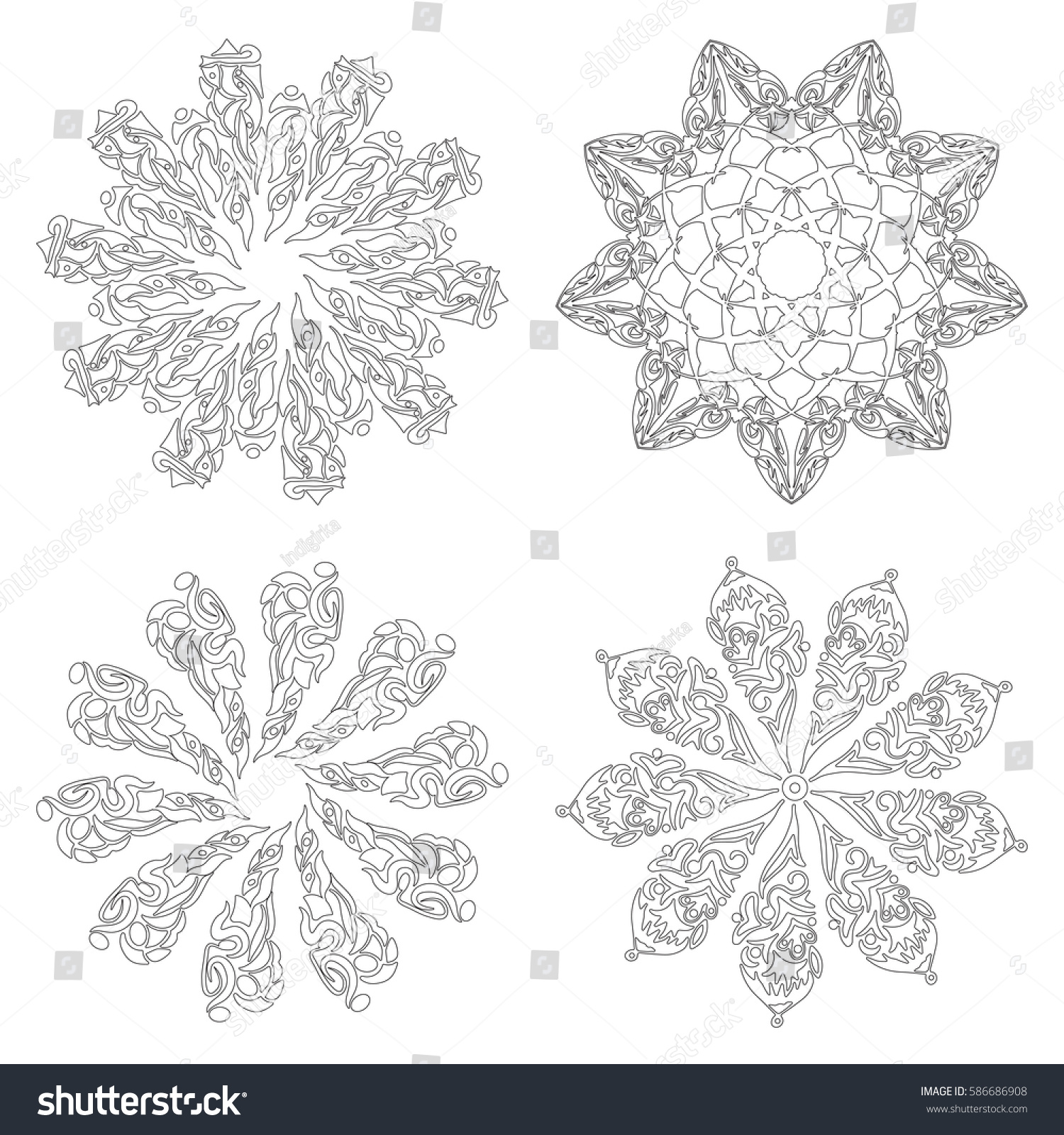 Zentangle Mandala Set Page Adult Colouring Stock Vector Royalty