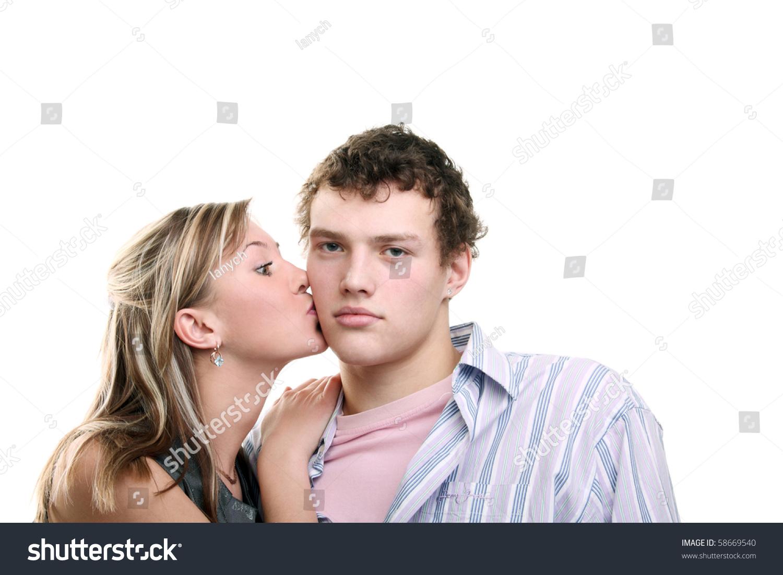 Young Beautiful Girl Kissing Her Boyfriends Cheek Stock -1323