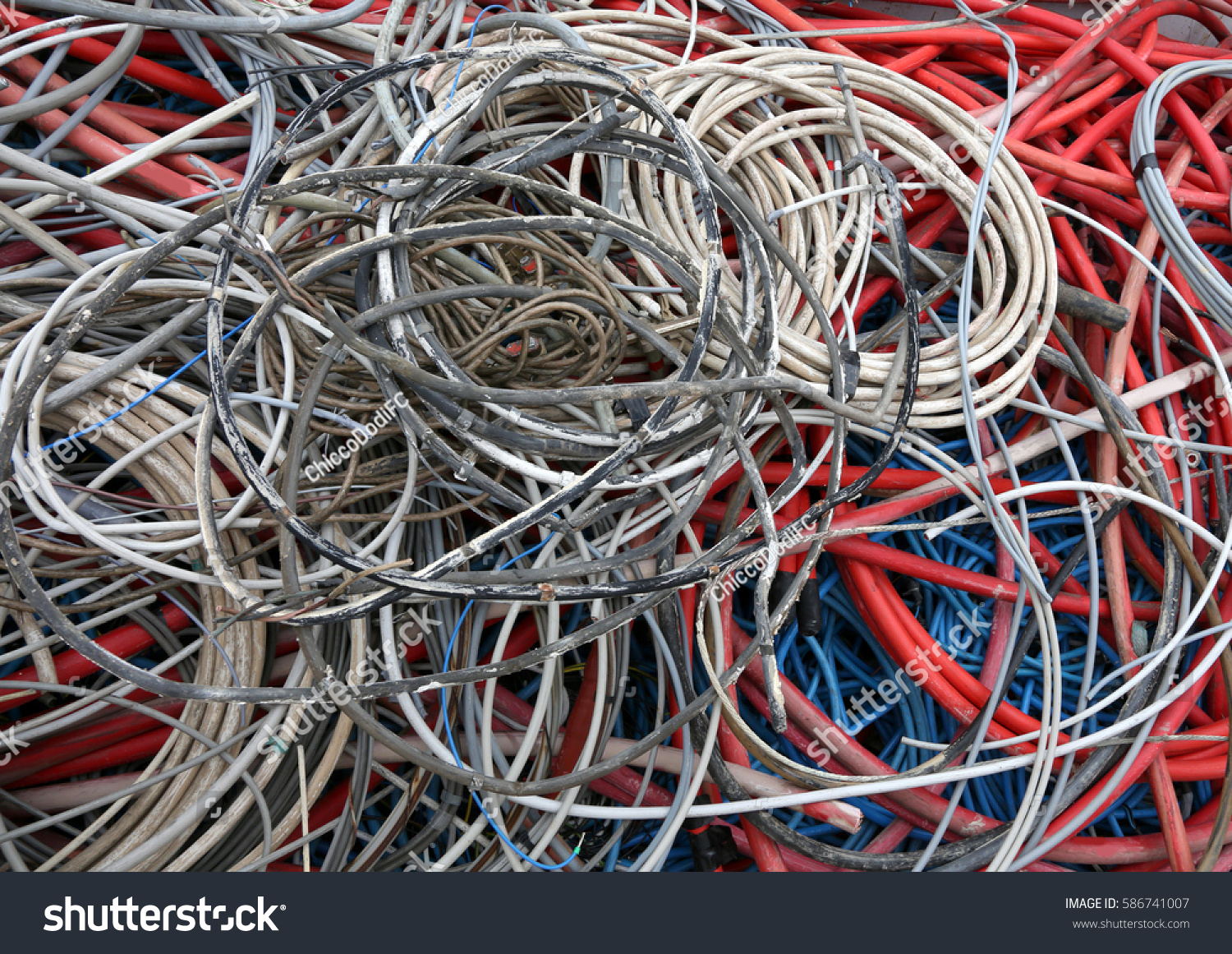 many electrical cables in a deposit of waste collection Center | EZ ...