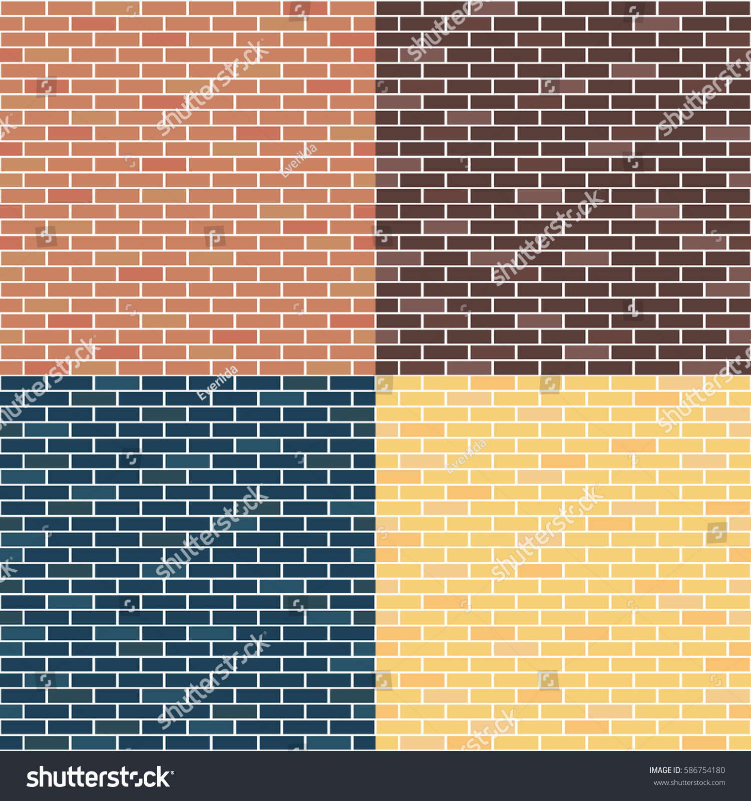 Different Types Brick Walls Background Brick Stock Vector (2018 ...