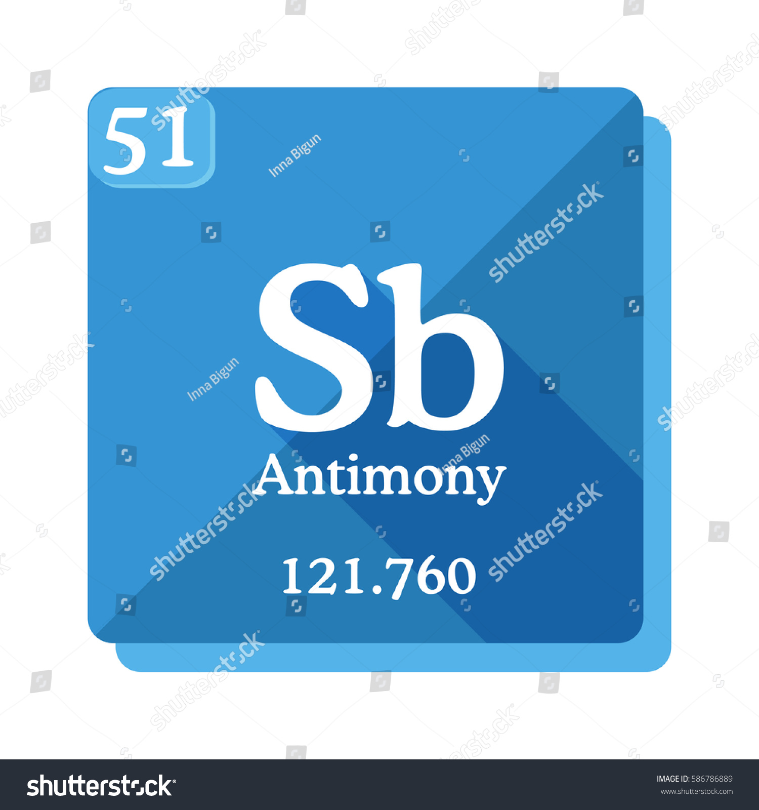 Antimony sb element periodic table flat stock vector 586786889 antimony sb element of the periodic table flat icon with long shadow gamestrikefo Choice Image