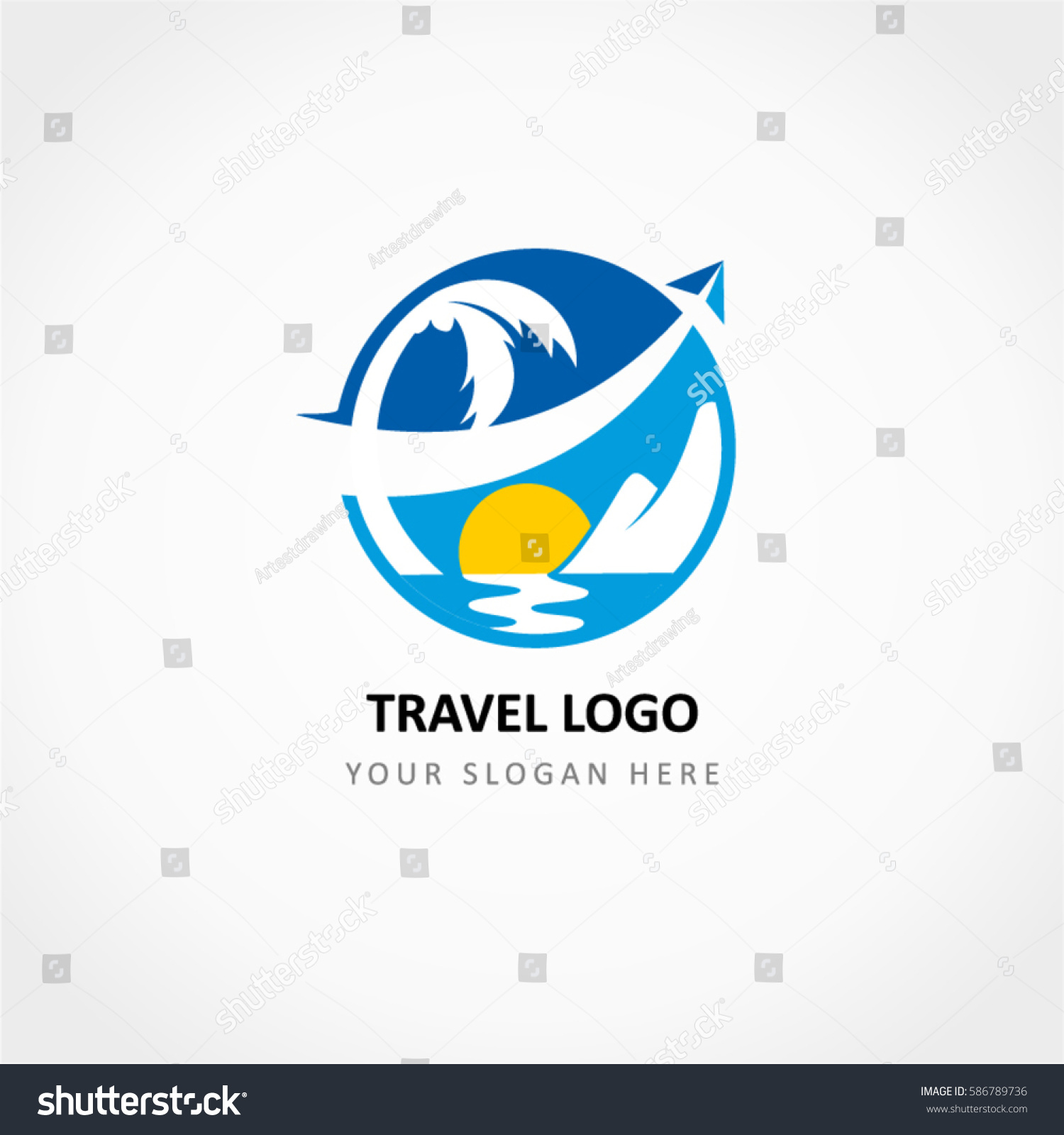 Travel Logo Aircraft Crossed Stock Vector 586789736